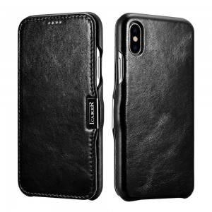 ICarer Vintage Series [Black], Skórzane etui z klapką do iPhone X/XS/10