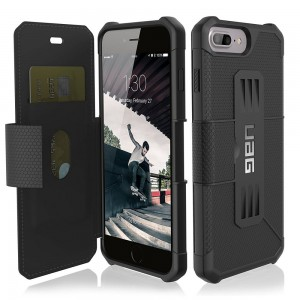 Urban Armor Gear Metropolis [Black], Pancerne etui do iPhone 6+/7+/8 Plus