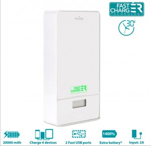 PURO Power Bank 20000mAh 4xUSB [White], Zewnętrzna bateria do iPhone/Galaxy