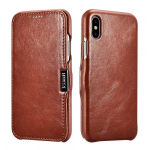 ICarer Vintage Series [Brown], Skórzane etui z klapką do iPhone X/XS/10