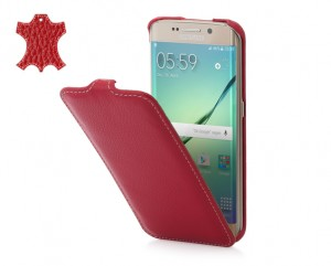 STILGUT Ultra Slim [Red], Skórzane etui do Galaxy S6 Edge