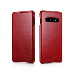 ICarer Vintage [Red], Skórzane etui do Galaxy S10+ Plus