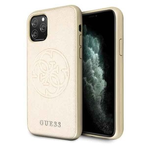 Guess iPhone 11 Pro złoty/gold hard case Saffiano 4G Circle Logo