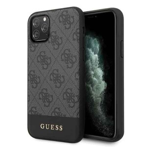 Guess iPhone 11 Pro Max szary/grey hard case 4G Stripe Collection