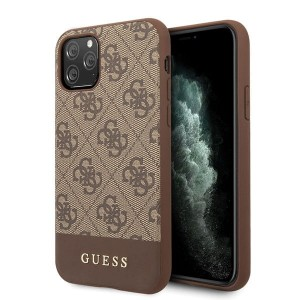 Guess iPhone 11 Pro Max brązowy/brown hard case 4G Stripe Collection