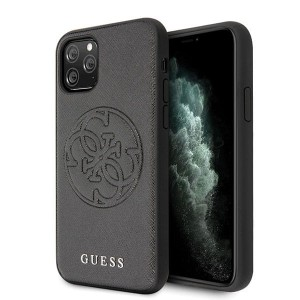 Guess iPhone 11 Pro Max czarny/black hard case Saffiano 4G Circle Logo