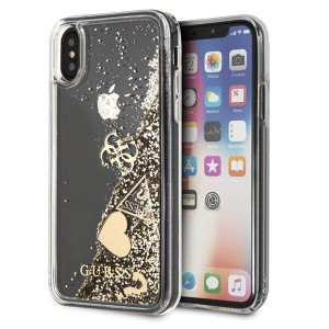Guess iPhone X/Xs gold/złoty hard case Glitter Hearts