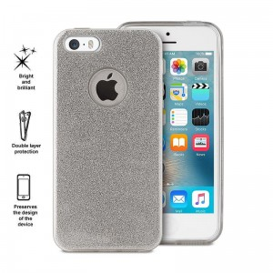 PURO Glitter Shine Cover [Silver],  Etui z brokatem do iPhone SE/5/5S
