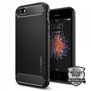 Spigen Rugged Armor [Black], Etui dla iPhone 5/5S/SE