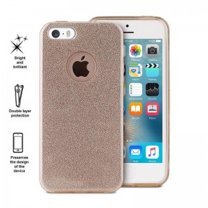 PURO Glitter Shine Cover [Gold],  Etui z brokatem do iPhone SE/5/5S