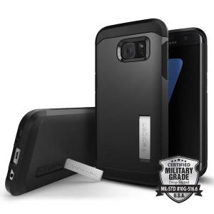 Spigen SGP Tough Armor [Black], Etui & stojaczek dla Galaxy S7 Edge
