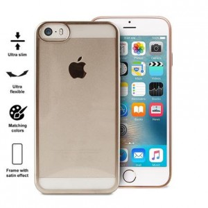 PURO Satin Cover [Gold], Etui silikonowe do iPhone 5/5s/SE